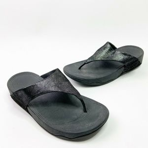 Fit Flop LULU Black Metallic Thong Sandals Shimmer